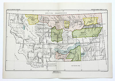 1899 MONTANA Map Ceded Indian Land Native American Territory Cessions Original