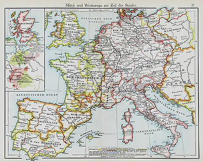 1905 Europe England Map Spain France Germany Italy Original Color Putzgers