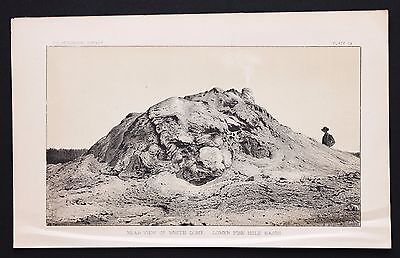 1878 Yellowstone Park White Dome Lower Fire Hole Lithograph Original Survey