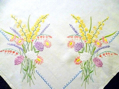 "8 Large English Flower bouquets ~ Hand Embroidered Large Tablecloth 48"" x 50"""