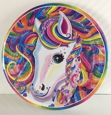 """Lisa Frank 7"""" Rainbow Majesty Horse Paper Party Plates, 8 Per Pack NEW"""