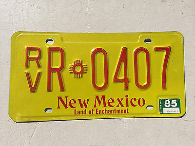 """1985 New Mexico Rv License Plate """" Rv R 0407 """" Nm Recreational Vehicle Camper"""