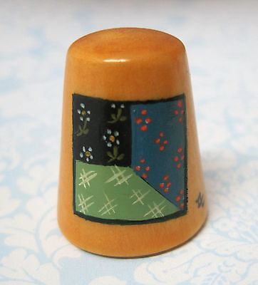 Hand Painted Signed Numbered Thimble Attic Window Quilting Block Pattern M7