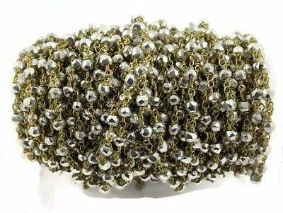 10 Feet Silver Pyrite Rosary Beaded Chain 24k Gold Plated 3.5-4mm Faceted Beads