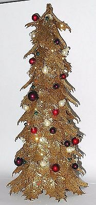 Vintage Style Hand Crafted Sparkling Golden Christmas Tree w/Bead Ornaments
