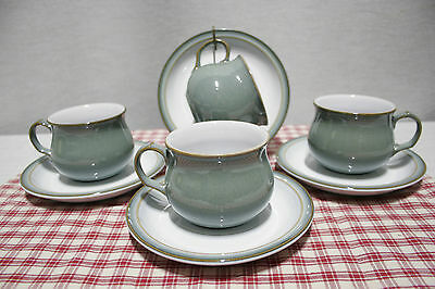 Lot of Four Denby Regency Green  Cup and Saucer Sets. Mint!