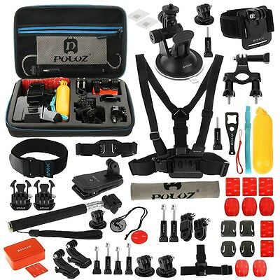 PULUZ 53 in 1 Accessories Total Ultimate Combo Kit + EVA Case for GoPro 5 4 3 2