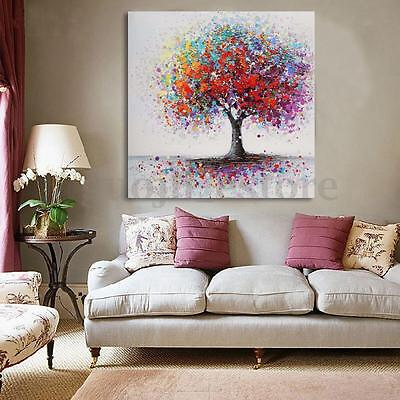 Framed Colorful Tree Abstract Picture Canvas Prints Painting Home Wall Art Decor