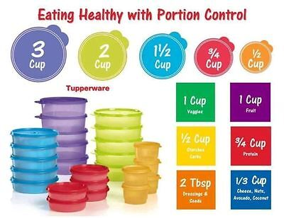 Tupperware 25 Piece Healthy Perfect Portion Control Containers Storage Food Prep