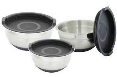 NEW D. Line Stainless Steel Mixing Bowl Set 3pc Non Slip With Lids