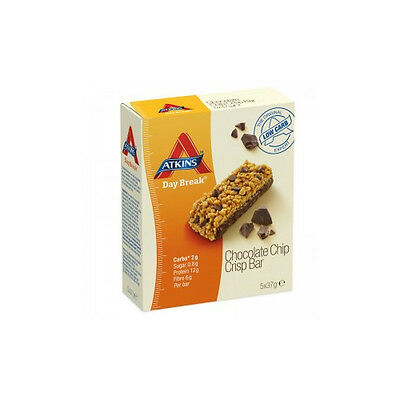 NEW Atkins Weight Loss Food Day Break Choc Chip Bar 5 Pack Weight Loss Dieting