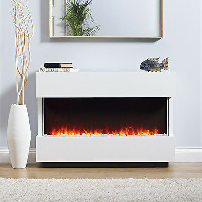 Panoramic LED Electric Fire Suite 2kW Remote Control Pebble Effect