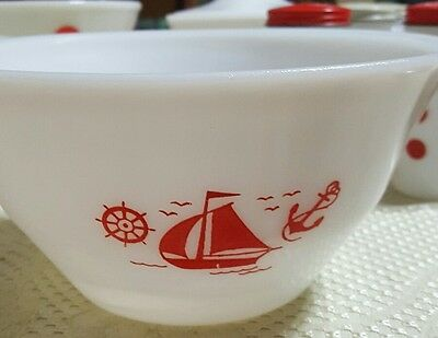 """Vintage  Mckee  8"""" Red Ships Mixing Bowl ~ Mint"""