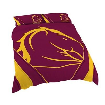 Brisbane Broncos NRL Quilt Doona Cover Pillow Case Set - Double Queen King