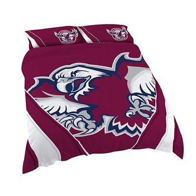 Manly Sea Eagles NRL Quilt Doona Cover Pillow Case Set - Double Queen King