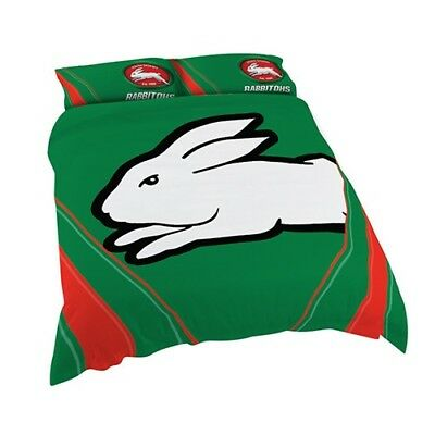 South Sydney Rabbitohs NRL Quilt Doona Cover Pillow Case Set - Double Queen King
