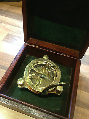 Brass Compass Sundial Cased Nautical Maritime Marine Boat Ships