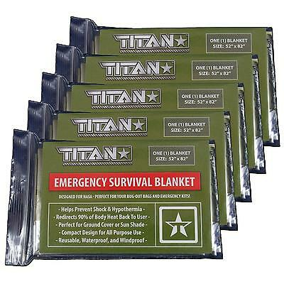 TITAN Two-Sided Emergency Mylar Survival Blankets 5-Pack | Designed for NASA ...