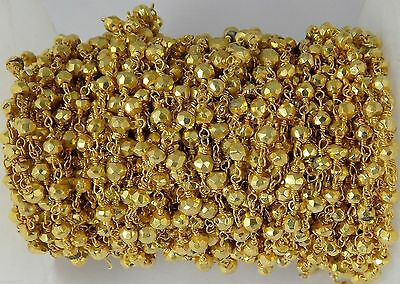 10 Feet Gold Pyrite Rosary Chain 24k Gold Plated 3.5-4mm Faceted Beaded Chain