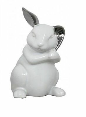 White Silver Rabbit Alice in Wonderland Nursery Decoration Art Deco Christening