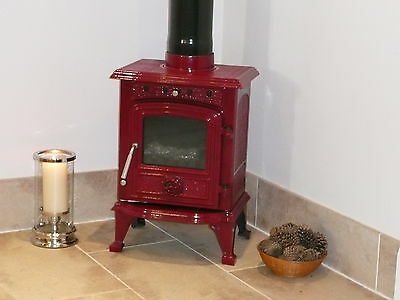 Hunters Of Yorkshire Red Cast Iron 4.5Kw Log Burning Stove