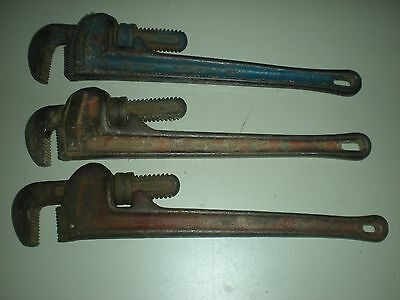 """(3) Rigid Heavy Duty Pipe Wrenches 18"""" GREAT BUY"""