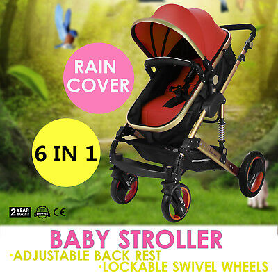New 3 In 1 Baby Toddler Pram Stroller Jogger Aluminium With Bassinet