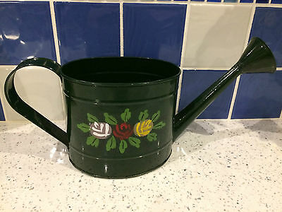 Canal Art Ware / Barge ware black oval metal planter - watering can shaped
