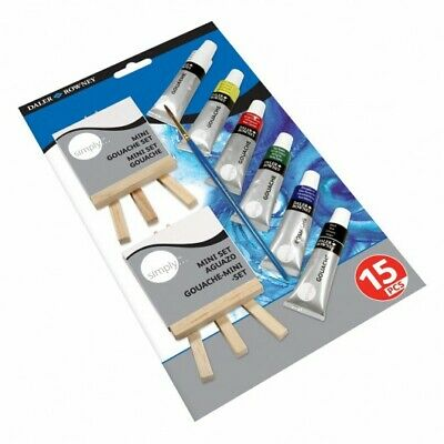 (10,65€/1Stk) Daler Rowney Gouache Simply Mini Canvas Mini Easel Set