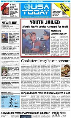 USA Today October 22, 2015 Edition - Back to the Future 2 II Cover Page