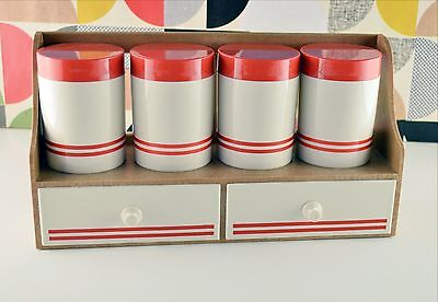 Retro Spice Rack with Drawers Red & Cream Vintage Kitchen Baking