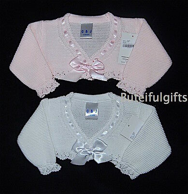 Baby Girls Spanish Slotted Ribbon Bow Bolero Cardigan 0-24 Months *One Supplied*