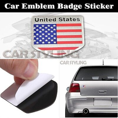 Badge Chrome Decals Sticker US USA American Flag Alloy Metal Emblem Car Badge
