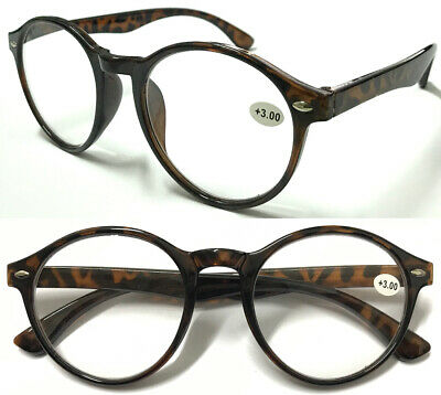 L105 Classic Retro Tortoiseshell Style Round Deigned Reading Glasses +1.00~+3.50
