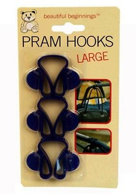 3 Large Pram Hooks buggy clips baby pramhooks bag hold brand new pack