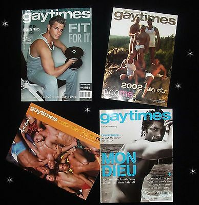 GAY TIMES magazine 2002 2005 with unused pin-up calendars Colin Farrell