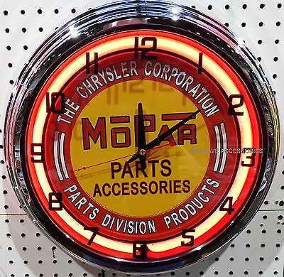 "17"" MOPAR Parts & Accessories Sign Neon Clock Dodge Plymouth Ram Chrysler"