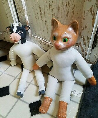 "21"" Vintage Duncan Porcelain/ceramic Stuffed Doll Body Cat & Smaller Cow Rare"