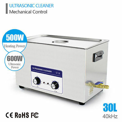 30L Knob Ultrasonic Cleaner Stainless Industry Heated Heater w/Timer Bath Tank