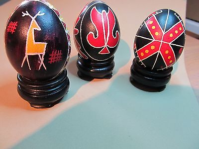 3 african hand painted eggs
