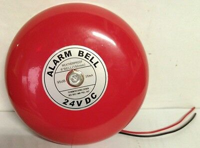 Alarm Fire Bell 24V DC 25mA 95db Alert Warning 6 inch - Red