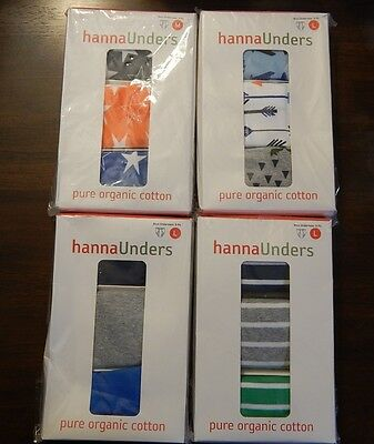 NEW HANNA ANDERSSON Unders Boys Underwear 3-Pack Stars Solid Adventure or Stripe