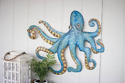 "Coastal Nautical Beach Cottage Hand Hammered Recycled Metal Octopus 32"" Wall Art"