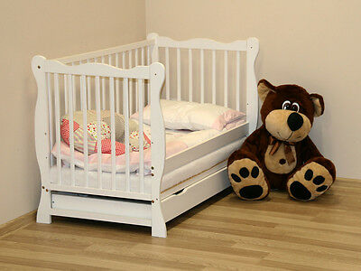 """Hit !!! Baby Cot With Drawer/junior Bed """"julia"""" / 2 Colors / White, Dark Brown"""