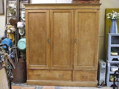 Antique Victorian Pine Wardrobe  With Drawers & Hanging Rails.