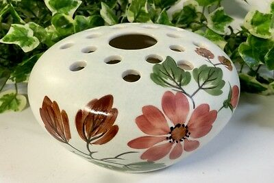 Lovely English Vintage Radford's Hand Painted Circular Floral Posy Vase / Bowl