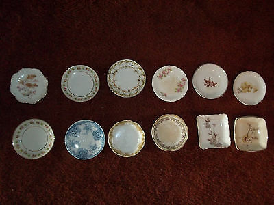 Lot of 12 Butter Pats Floral Round Square