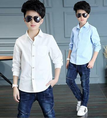 Boys White Blue School Shirt Plain Kids Formal Party Wedding Casual Long Sleeved