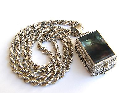Vintage-Victorian Style Solid Silver/Fluorite Set Ornate Locket On Silver Chain
