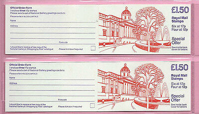 GB 1986 £1.50  PAIR BOOKLET - FP2A & 2B  - NATIONAL GALLERY - Cyl Nos.- MNH